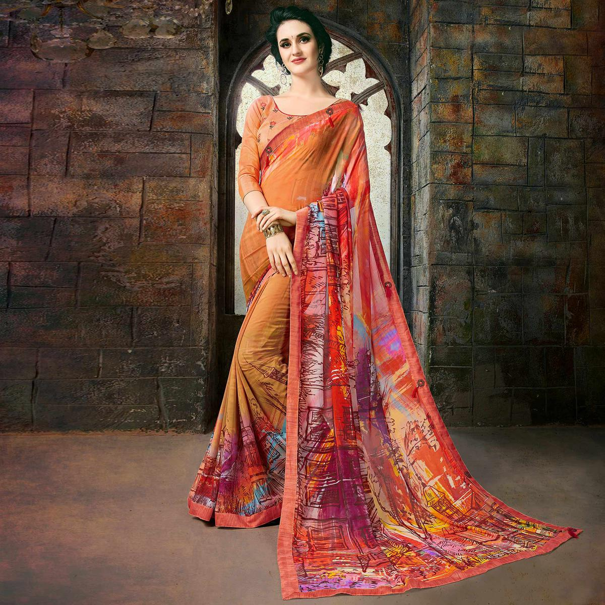 Glowing Multi Colored Casual Printed Georgette Saree