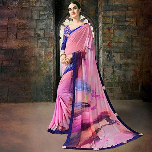 Impressive Pink Colored Casual Printed Georgette Saree