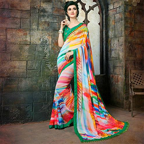 Classy Multi Colored Casual Printed Georgette Saree