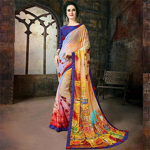 Stylish Multi Colored Casual Printed Georgette Saree