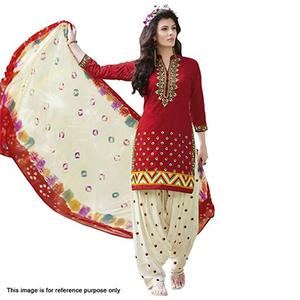 Red - Cream Printed Patiala Suit