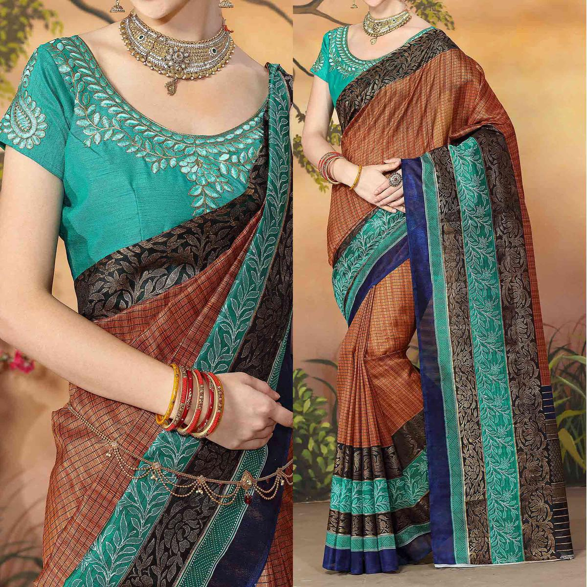 Regal Brown Traditional Wear Zoya Silk Saree