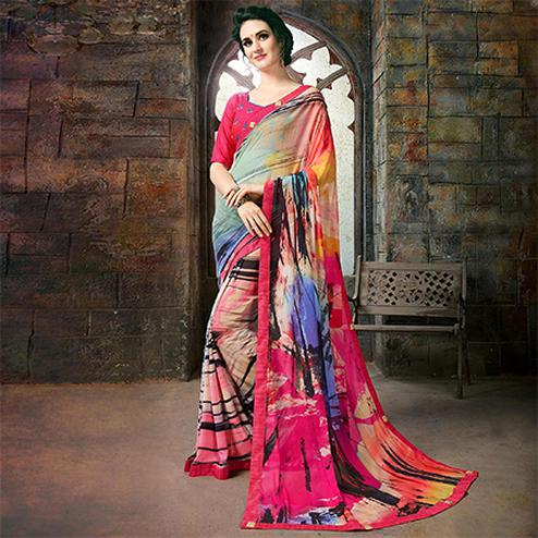 Ravishing Multi Colored Casual Printed Georgette Saree