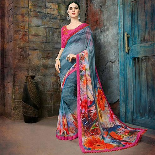 Trendy Gray Colored Casual Printed Georgette Saree