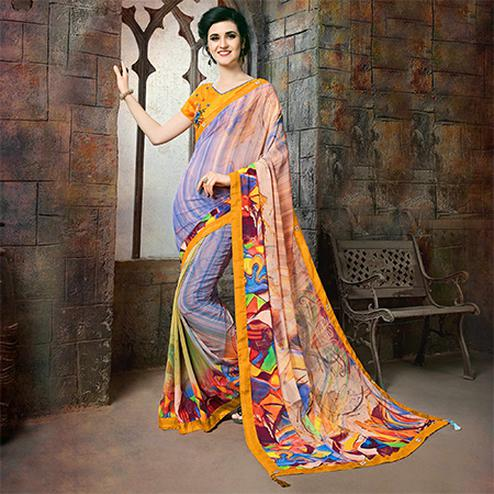 Gorgeous Multi Colored Casual Printed Georgette Saree