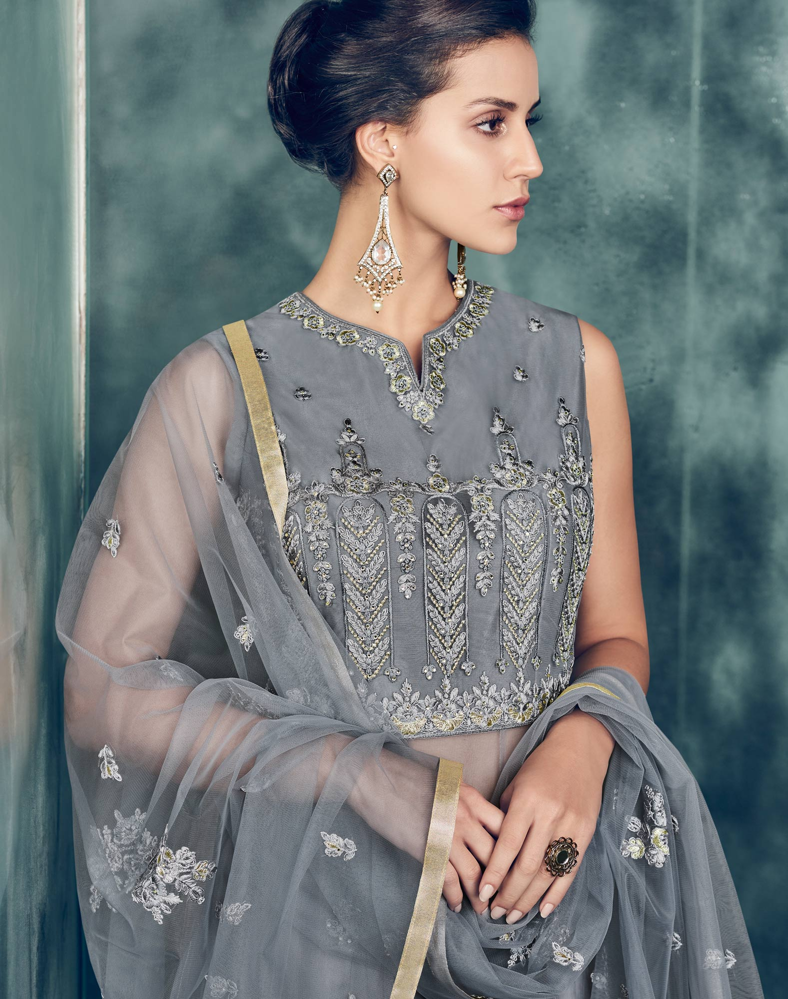 Ravishing Gray Colored Partywear Designer Embroidered Net Anarkali Suit
