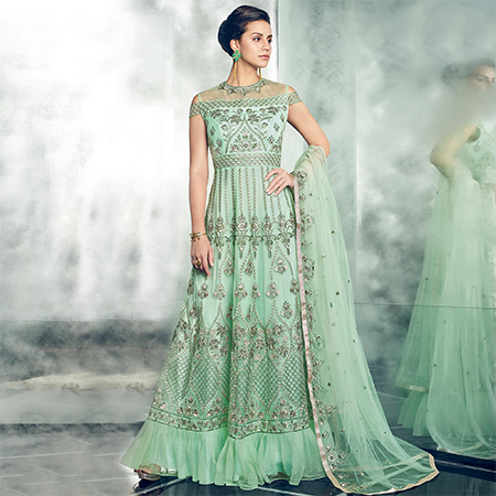 Refreshing Pista Green Colored Partywear Designer Embroidered Net Anarkali Suit