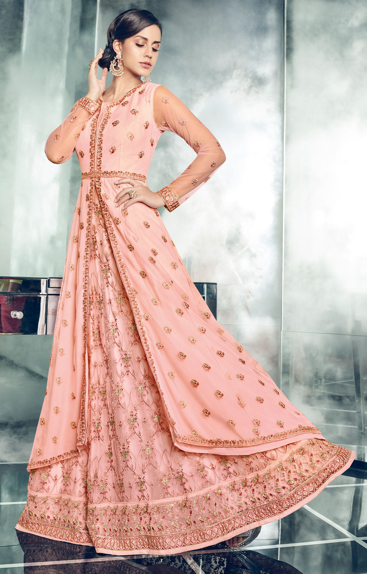 Impressive Pink Colored Partywear Designer Embroidered Net Anarkali Suit