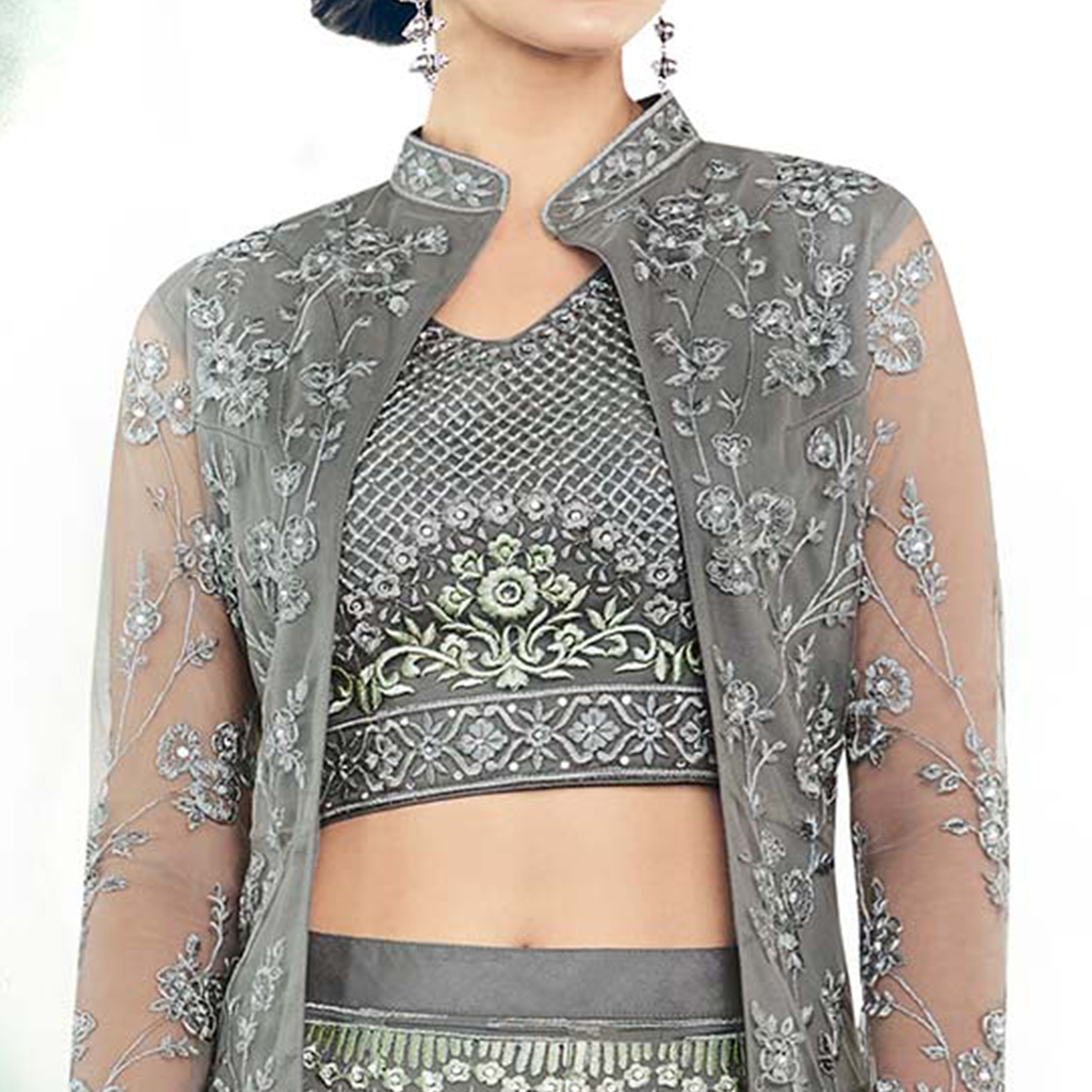 Majestic Gray Colored Partywear Designer Embroidered Net Anarkali Suit