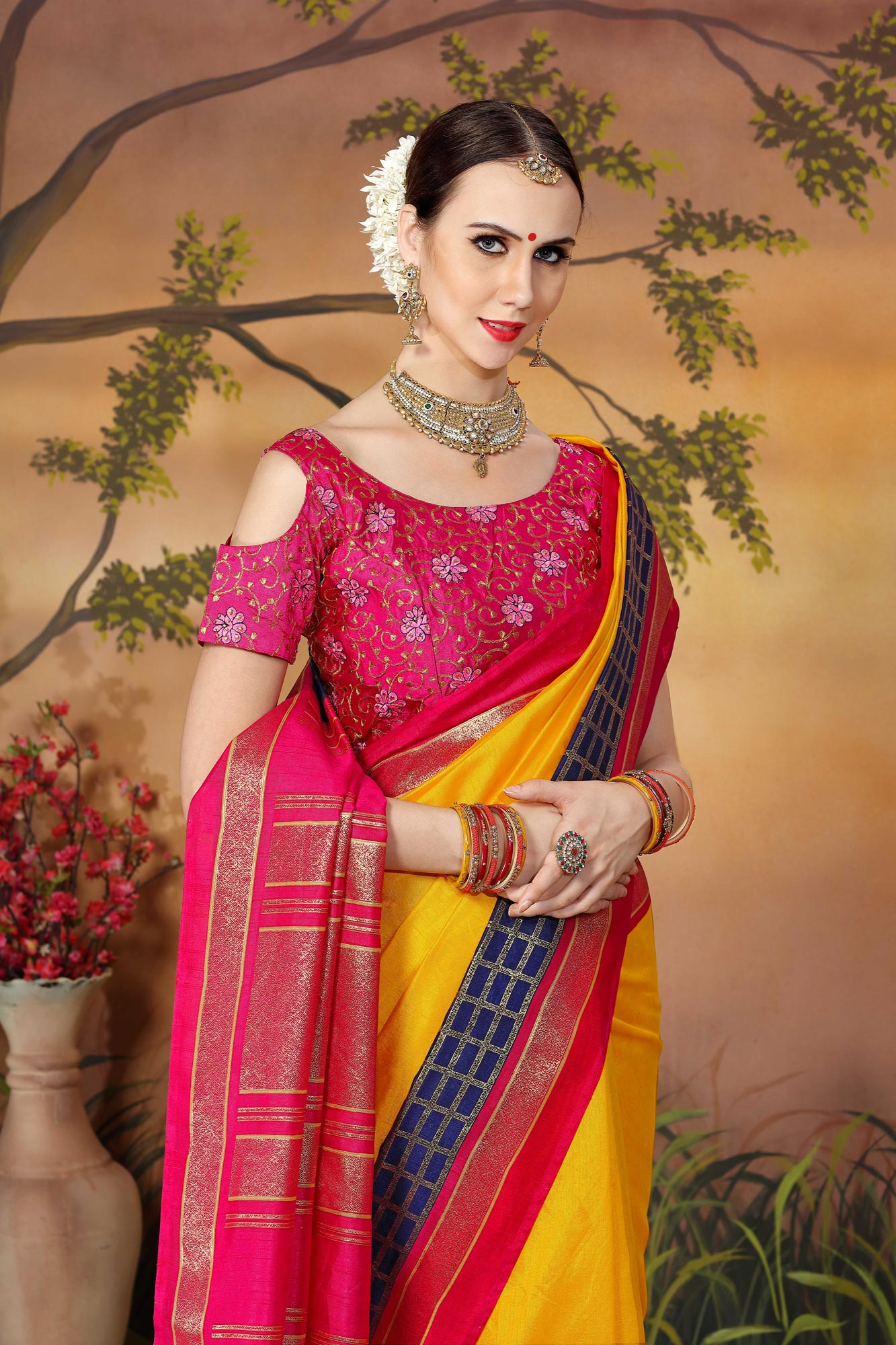 Classy Yellow And Pink Traditional Wear Zoya Silk Saree