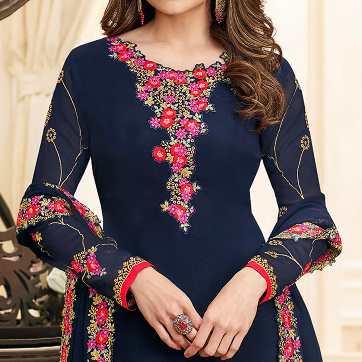 Gorgeous Navy Blue Colored Partywear Embroidered Georgette Suit