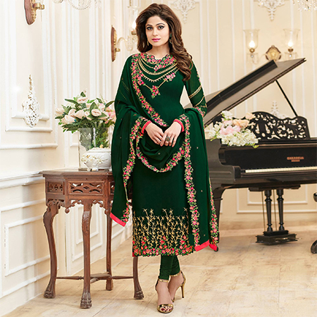 Demanding Dark Green Colored Partywear Embroidered Georgette Suit