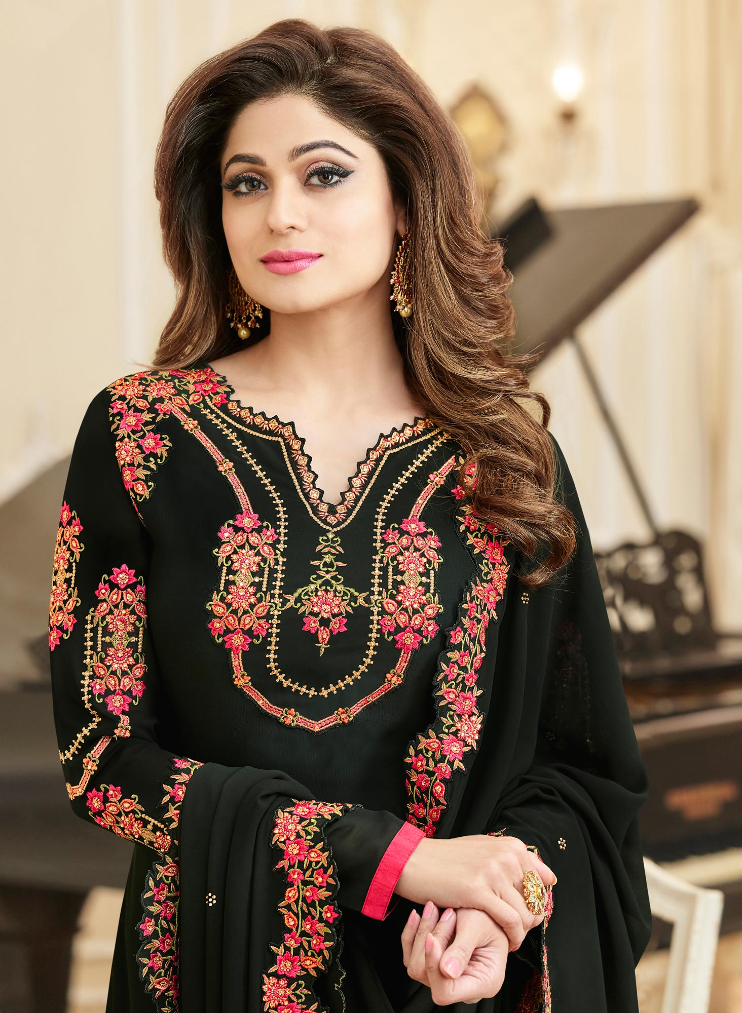 Glowing Black Colored Partywear Embroidered Georgette Suit