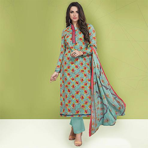 Stylish Pastel Blue Colored Casual Printed Cotton Suit