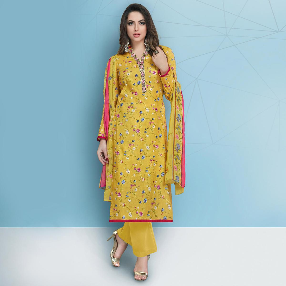 Classy Yellow Colored Casual Printed Cotton Suit