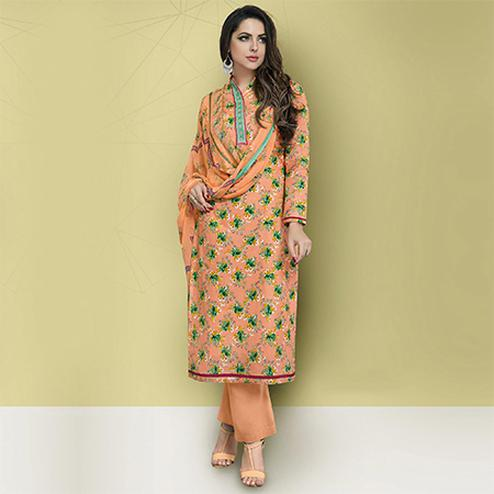 Pretty Peach Colored Casual Printed Cotton Suit