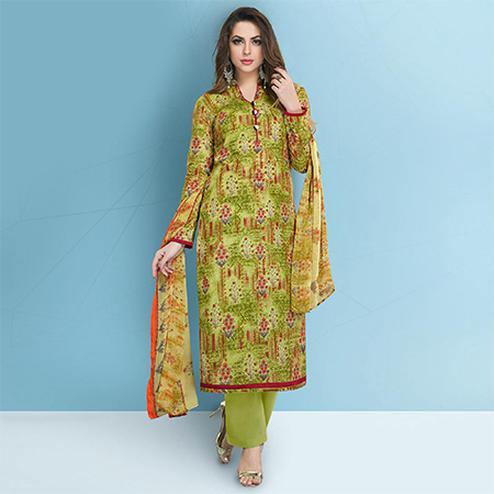 Refreshing Green Colored Casual Printed Cotton Suit