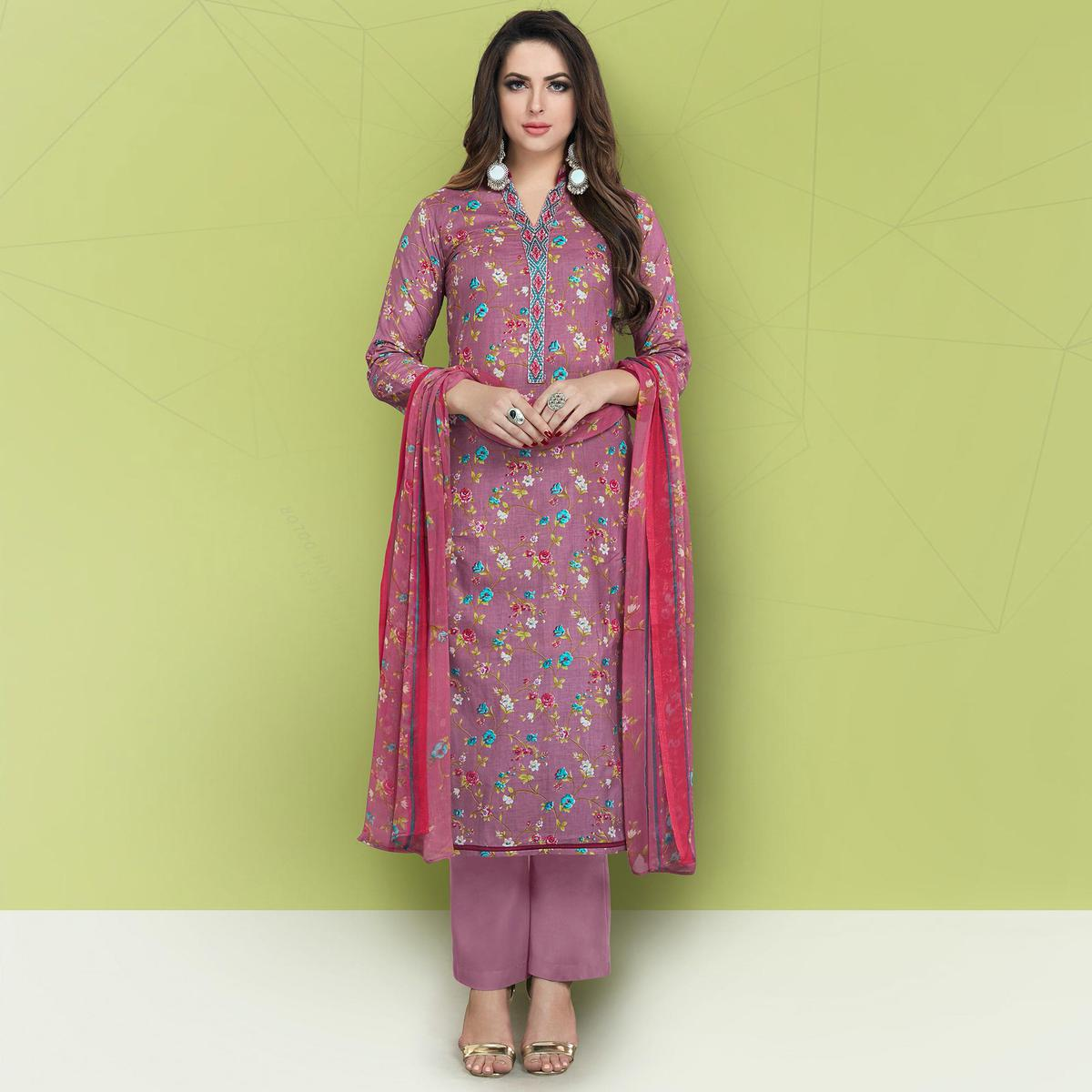 Exceptional Light Wine Colored Casual Printed Cotton Suit