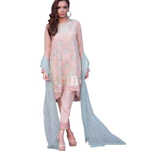 Trendy Pink Designer Embroidered Georgette Pant Style Suit