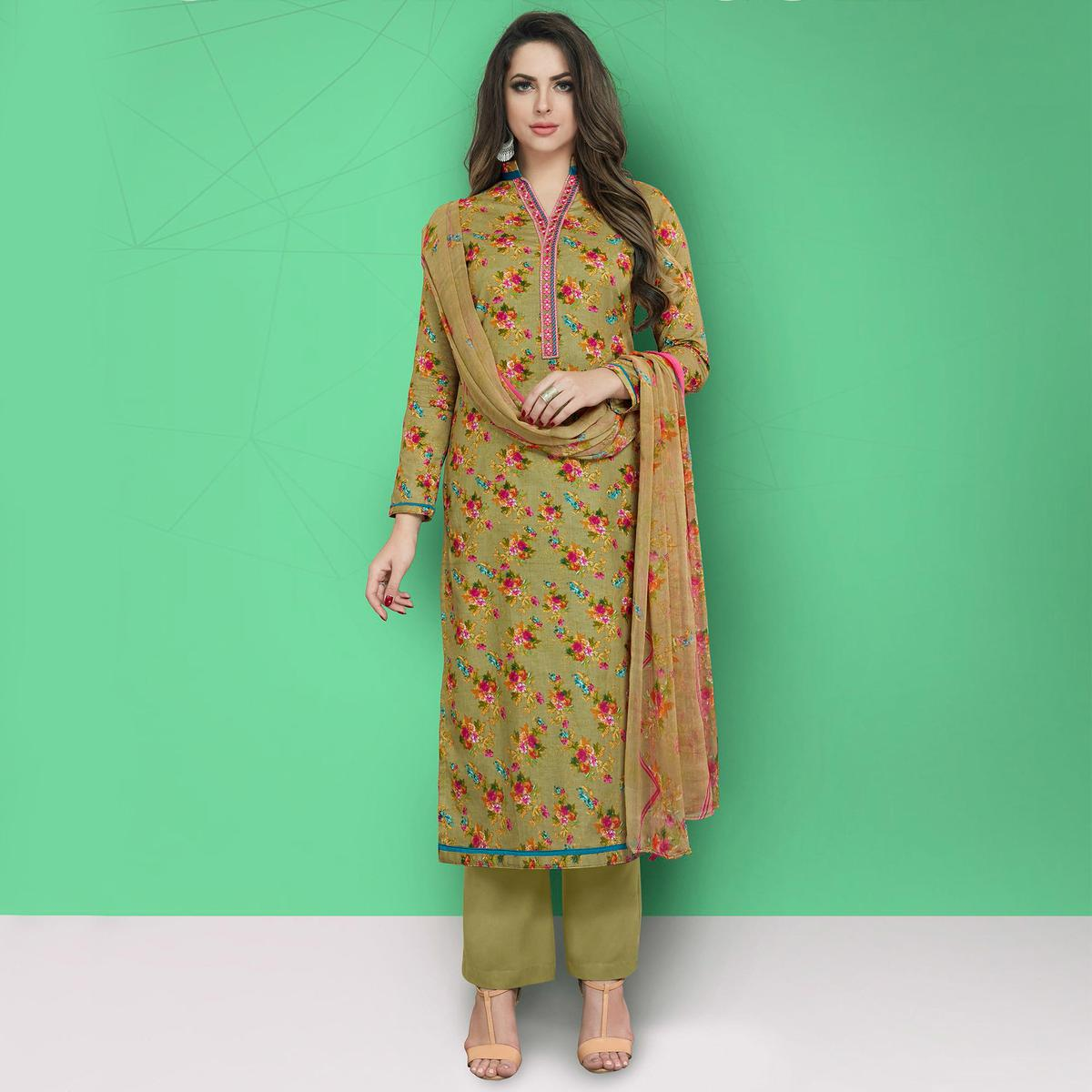 Blooming Olive Green Colored Casual Printed Cotton Suit