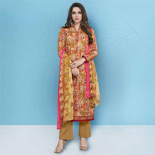 Trendy Yellow Colored Casual Printed Cotton Suit