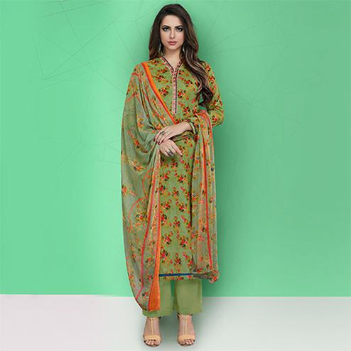 Ravishing Green Colored Casual Printed Cotton Suit