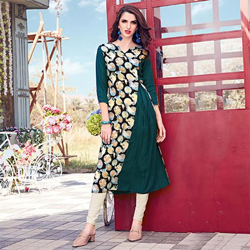 Exceptional Teal Green Colored Casual Printed Rayon Kurti