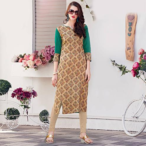 Attractive Turquoise Green Colored Casual Printed Rayon Kurti