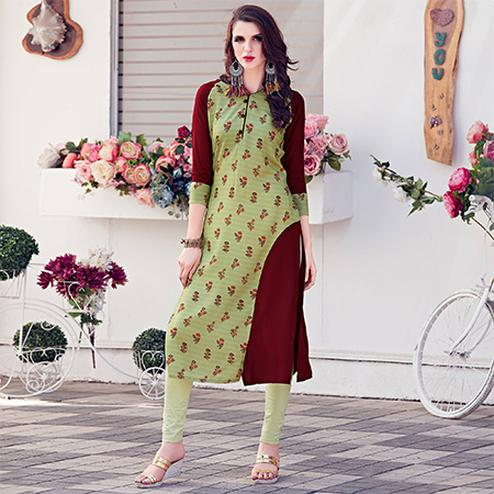 Beautiful Green Colored Casual Printed Rayon Kurti