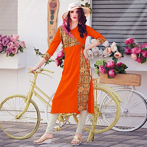 Glowing Orange Colored Casual Printed Rayon Kurti