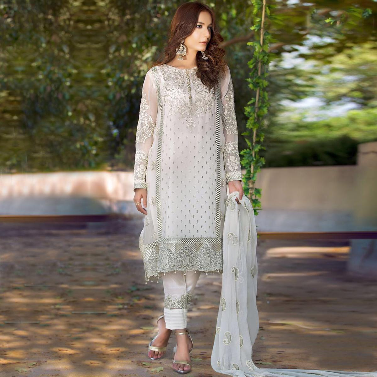Classy White Designer Embroidered Georgette Pant Style Suit