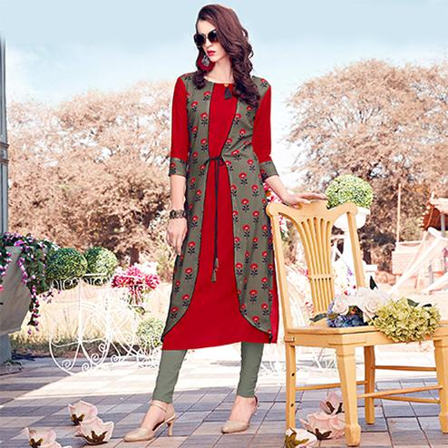 Impressive Red-Gray Colored Casual Printed Rayon Kurti