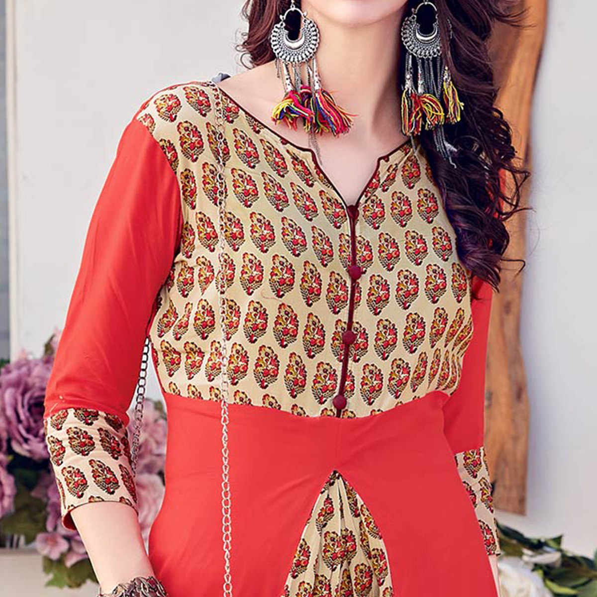 Stylish Orange-Beige Colored Casual Printed Rayon Kurti