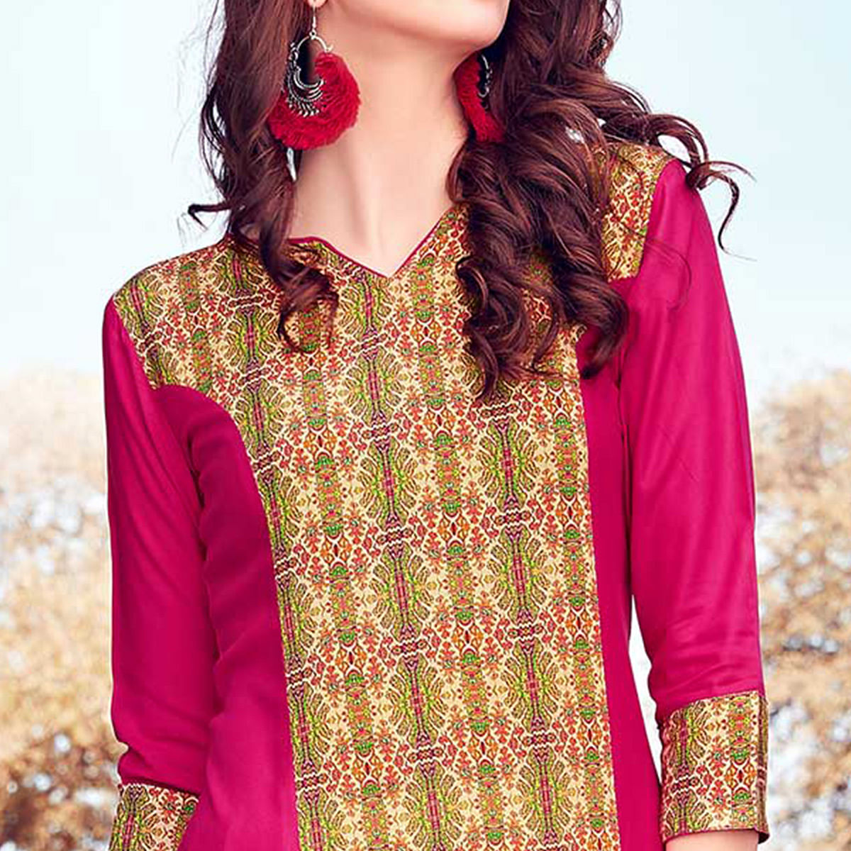 Classy Pink-Beige Colored Casual Printed Rayon Kurti