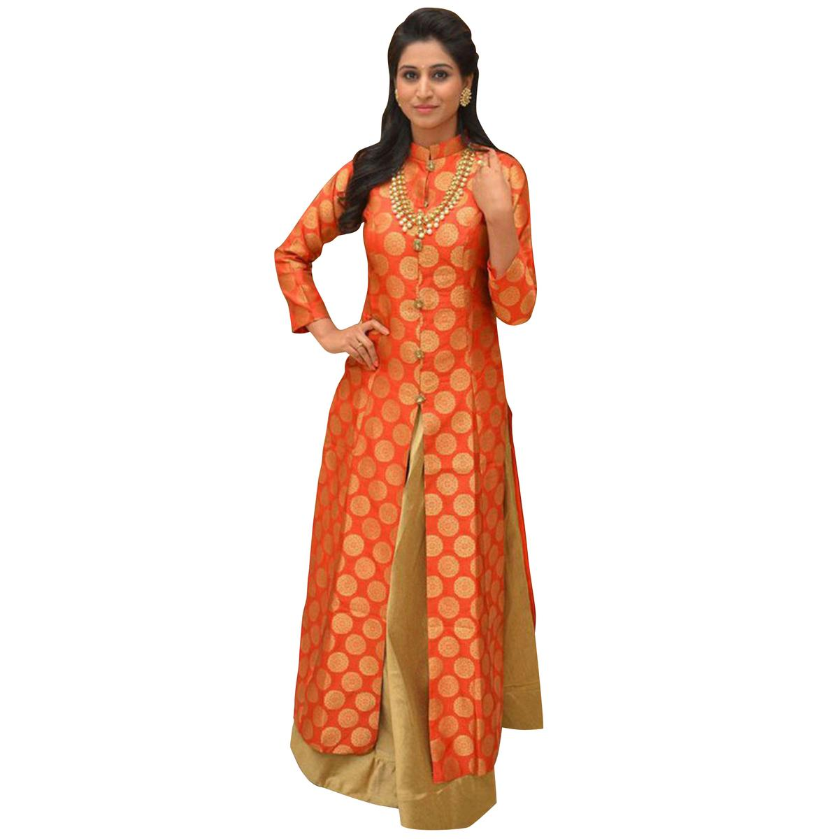 Attractive Orange-Golden Colored Partwear Jacquard Silk Lehenga Kameez