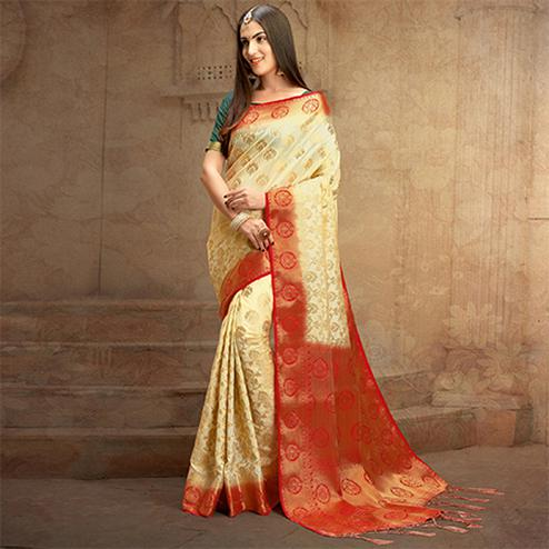 Cream Colored Festive Wear Woven Work Nylon Soft Silk Saree