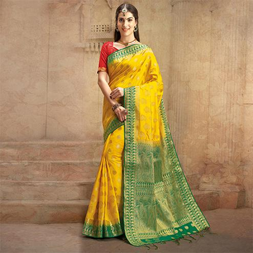 Yellow Colored Festive Wear Woven Work Nylon Soft Silk Saree