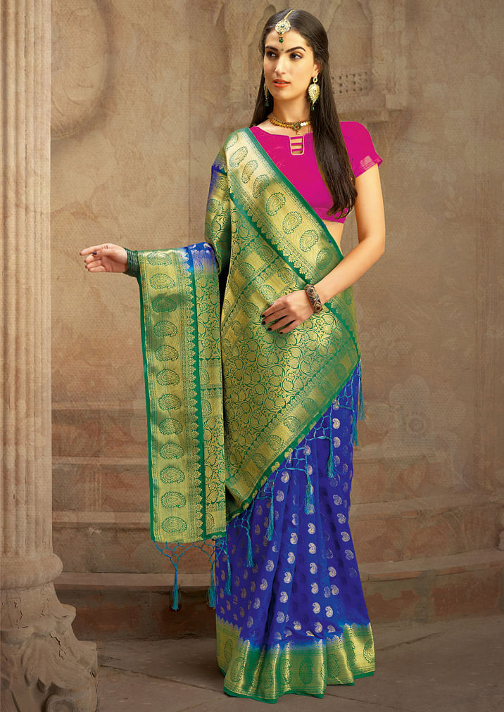 Blue Colored Festive Wear Woven Work Nylon Soft Silk Saree