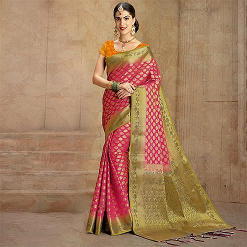 Red Colored Festive Wear Woven Work Nylon Soft Silk Saree