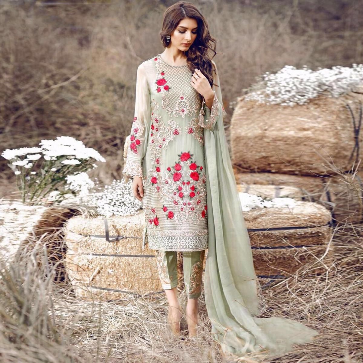 Elegant Green Designer Embroidered Georgette Pant Style Suit
