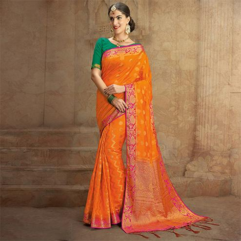 Orange Colored Festive Wear Woven Work Nylon Soft Silk Saree