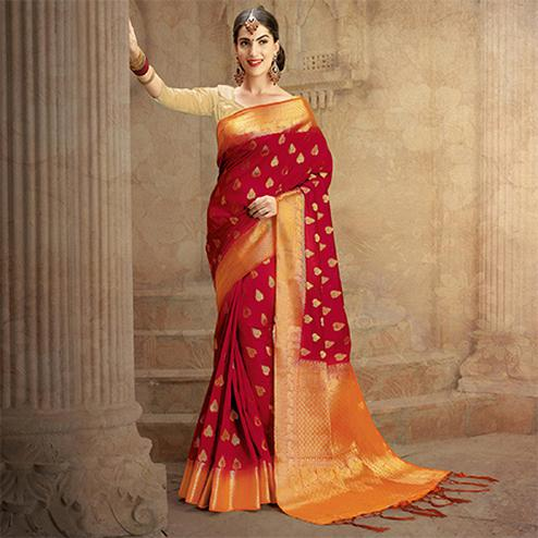 Maroon Colored Festive Wear Woven Work Nylon Soft Silk Saree