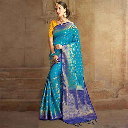 Sky Blue Colored Festive Wear Woven Work Nylon Soft Silk Saree