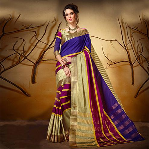 Adorning Royal Blue - Purple Colored Festive Wear Woven Cotton Silk Saree