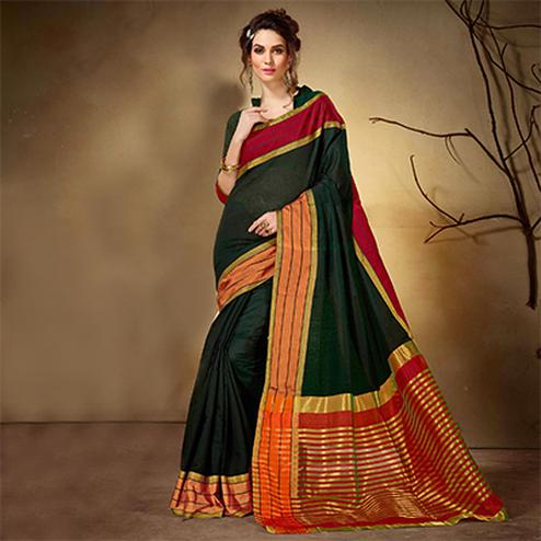 Energetic Green Colored Festive Wear Woven Cotton Silk Saree