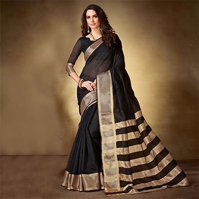 Snazzy Black Colored Festive Wear Woven Cotton Silk Saree