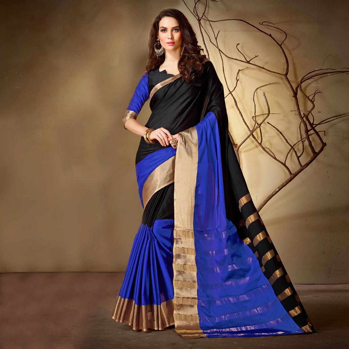 eb4517d5dcd3d Buy Adorning Royal Blue - Purple Colored Festive Wear Woven Cotton Silk  Saree for womens online India