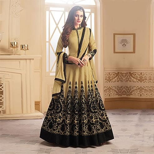 Demanding Beige Colored Partywear Designer Embroidered Tapeta Silk Anarkali Suit
