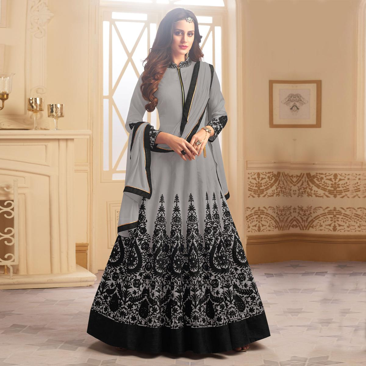 Trendy Gray Colored Partywear Designer Embroidered Tapeta Silk Anarkali Suit
