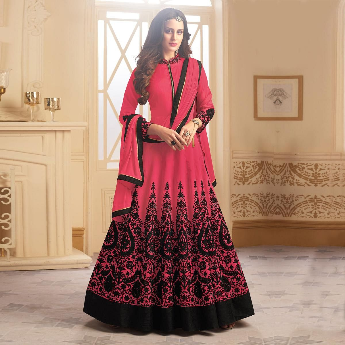 Refreshing Pink Colored Partywear Designer Embroidered Tapeta Silk Anarkali Suit
